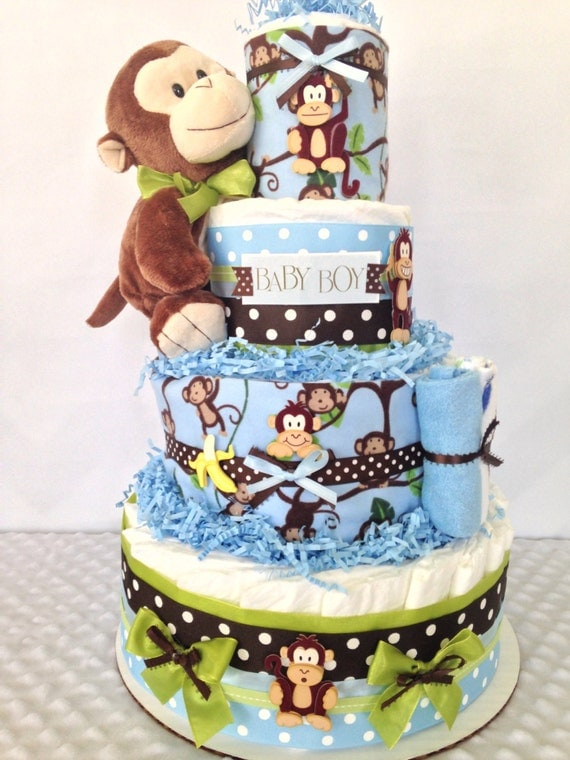 Unavailable listing on etsy - Monkey baby shower cakes for boys ...