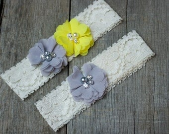 Silver Grey and Yellow Wedding Garter, Shabby Chic Garter