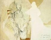 """RESERVIERT für ISABELLE, Originalzeichnung, """"Hommage à Degas XVI"""", Mischtechnik auf Papier-Collage, 40x48 cm"""