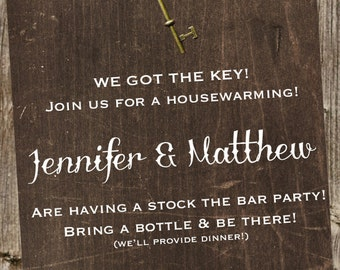 Housewarming Invitation - Rustic with Skeleton Key