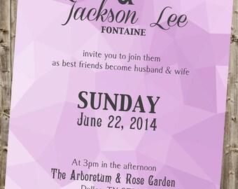 Geometric Wedding Typography Invitation