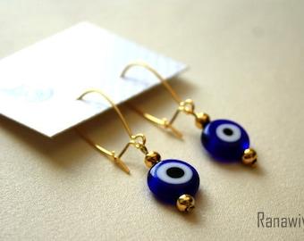 Evil Eye Earrings - Glass Bead - Evil Eye Jewelry - Blue Earrings - Arabic Earrings - Gold Plated