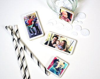 Set of 12, Magnet Photo Personalized Mini in Poplar Wood, Mother's day gift of your baby, family great gift for grandparents, Christmas