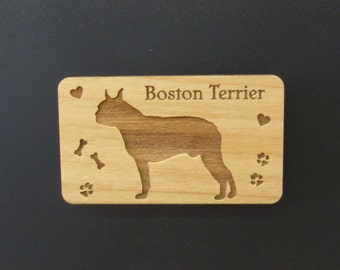 Original Design Boston Terrier Wood Magnet