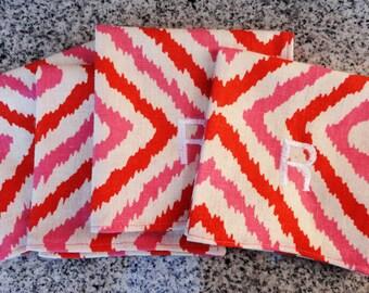 Monogram Pink and Orange Print Cocktail Napkin- Set of 4 / Host Gift / Valentines