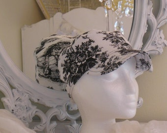 SALE on Classic Ladies Hat in Black and White French Toile