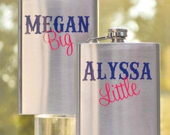 Sorority Big Little Sister Flask Personalized