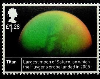 Titan Largest moon of Saturn Huygens probe landed in 2005 Space UK -Framed Postage Stamp Art 17063