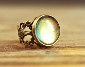 Filigree moonglow ring, adjustable ring, statement ring, antique brass ring, glass dome ring, antique bronze ring, jewelry gift, some magic