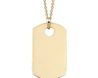 Army 14k Solid Gold Necklace Dog Tag Style Charm
