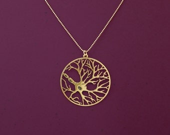 Neuron in a circle necklace, psychology necklace, biology jewelry, 24 Karat gold plated necklace