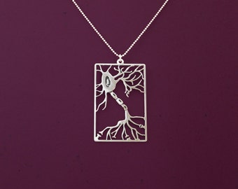 Multipolar neuron necklace - biology gift - brain science - neuroscience