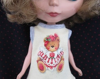 Blythe Doll Outfit Clothing Bear Print Yellow Tee