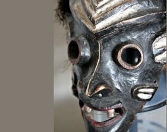 Rare Eastern Pende Face Mask w/Feather Headdress / Provenance: Janus Kadel/ African Art (Dem. Rep. Congo)