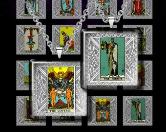 """TAROT CARDS- Digital Collage Sheet – 1"""" & 1.5"""" size - Instant download – Printable images for Pendants, Earrings, Charms"""