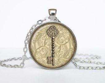Steampunk Victorian Key necklace Steampunk pendant Key jewelry beige black brown