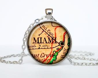 Miami map pendant, Miami map necklace, Miami map jewelry, Miami Florida