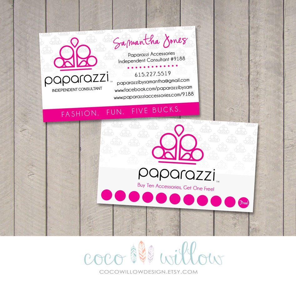 Paparazzi Business Card Printable by Coco by CocoWillowDesign