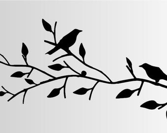 Birds Wall Decal - Birds on Branch Wall decal - Birds Wall Decal - Love birds - Spring Decal - Birds Decal - Lovebirds Wall Decal
