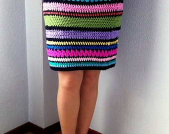 Crochet Multicolor Striped Tube Skirt - One of a kind - Hippie Bohemian Boho Gypsy Festival