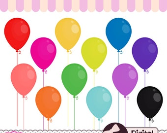 Birthday Party Clip Art, Balloon Clipart, Digital Graphics, Images