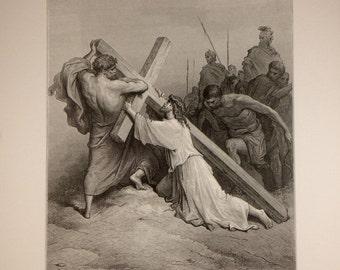 Jesus Falling Beneath the Cross Lithograph Print
