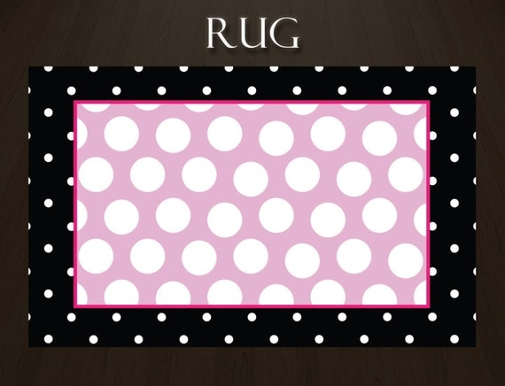 items similar to polka dot rug kids area rugs bedroom area rugs pink and black rugs for kids. Black Bedroom Furniture Sets. Home Design Ideas