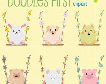 Animal Swing Digital Clip Art for Scrapbooking Card Making Cupcake Toppers Paper Crafts
