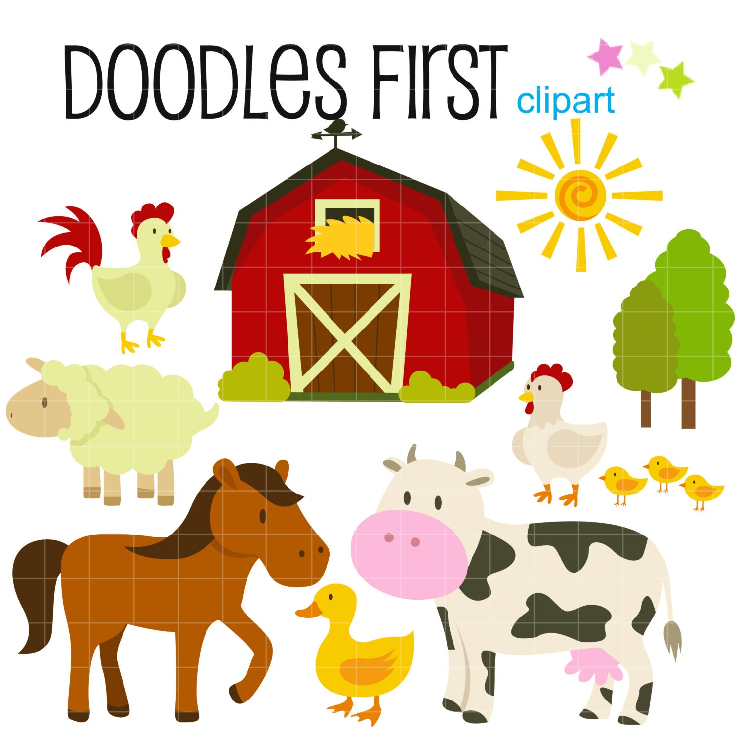 Farm Animals Barnyard Digital Clip Art for Scrapbooking Card