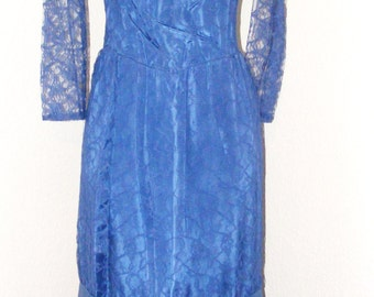 70s Vintage Lace Blue dress