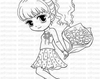 Digital Stamp Star Pretty Girl Coloring page Big eyed girl