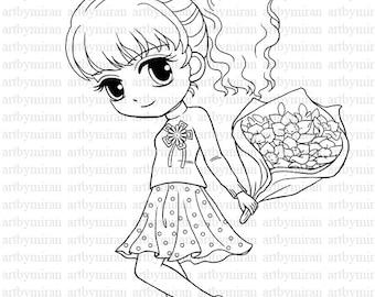 Digi Stamp Pretty Girl Angel Coloring page Big eyed girl