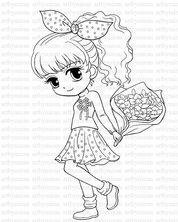 digi stamp isabel 39 s bouquet pretty girl coloring page