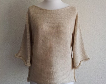 jeacara - beige Kati - continue knitting sweater - cotton - linen