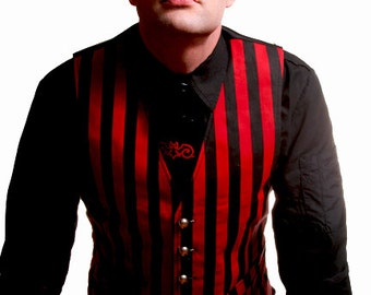 STEAM VEST Red and Black Stripes by Hilary's Vanity steampunk goth adjustable