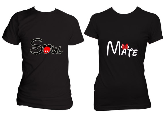 Disney SOUL MATE Matching couples T-shirts Black  Blue or Red two for    Disney Soul Mate Shirts