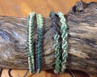 Handmade Hemp Friendship Bracelet or Anklet - Camouflage