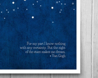 Starry Night Art Print. Astronomy Inspired Serene Star Gazing Poster.