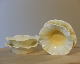 Two-Tiered  Bone China Peaches and Cream Colored Candle Holders