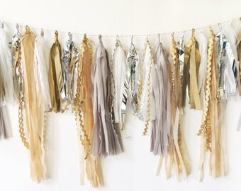Tassel Garland in Fancy Neutrals, FREE SHIPPING, Tan, Silver, Taupe, Gold, White, Gray