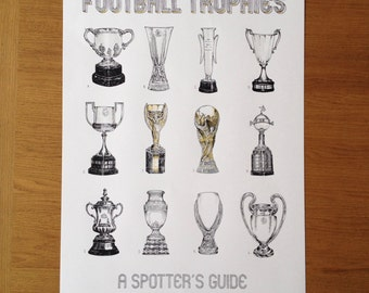 Football Trophies Spotter's Guide - Limited Edition, Hand Pulled Silkscreen Art Print