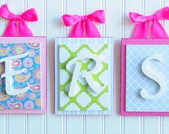 Nursery letters,Pink and Aqua Nursery Letters,Girls Bedroom Letters,Wooden Nursery Letters,Girls Wall Letters,Pink Wall Letters, Wood Letter