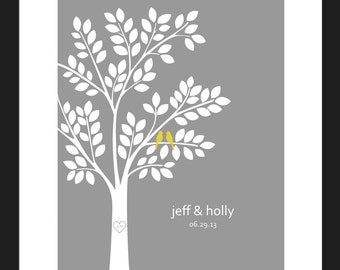 Wedding Guest Book Alternative/ Bridal Shower Gift/ Guest Book Wedding Tree/ Personalized Wedding Poster - 16x20- 100 Signatures