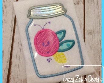 Lightning Bug in mason jar Appliqué embroidery Design - Fire Fly in Mason Jar Appliqué embroidery Design - firefly appliqué design