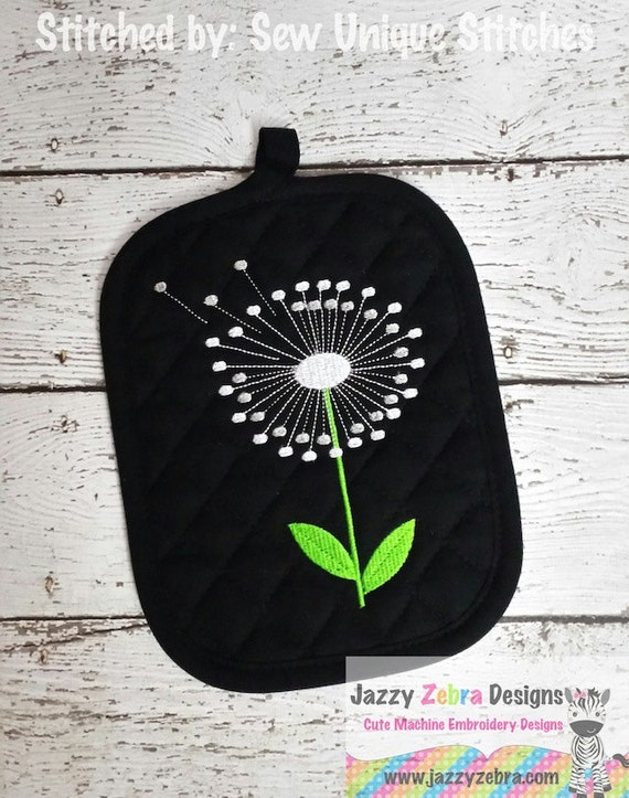 Dandelion Filled Embroidery Design - flower Embroidery Design - dandelion Embroidery Design - summer Embroidery Design