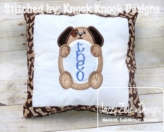 Dog Monogram frame Applique embroidery Design - puppy Applique Design - dog Applique Design - monogram frame Applique Design