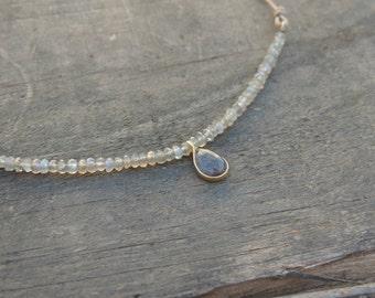 Adjustable Labradorite teardrop necklace