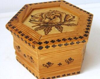 Keepsakes Woodburned Box, Velvet Finished Inside, Jewelry Box, Trinket Box, OOAK