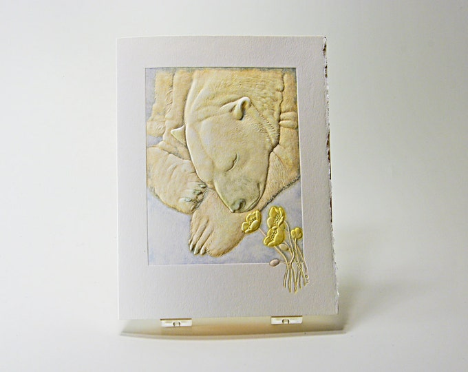 Polar Bear Card Letterpress bear card Embossed bear Wildlife card. Single card. Blank inside.