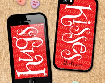 Personalized Phone Case Hugs & Kisses, iPhone 4, 4S, iPhone 5, iPhone 5S, iPhone Case, Samsung Galaxy 4S,Valentine's, Personalized Gifts 131